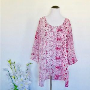 Johnny Was floral boho tunic blouse